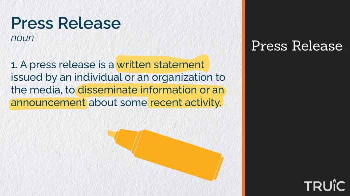 Definition of press release.