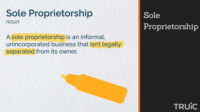 Definition of a sole proprietorship with highlighting.