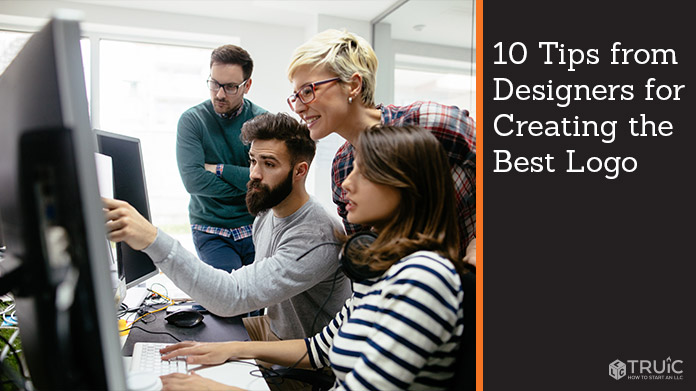 A group of designers giving tips about designing a logo.