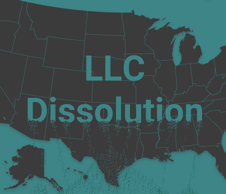 A map of the U.S. �LLC dissolution� written on it. The word �dissolution� is dissolving