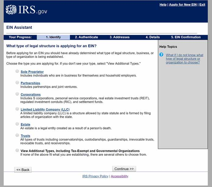 Step one of the IRS Website