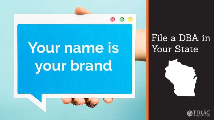 """A person holding a tablet displaying """"your name is your brand"""" File a DBA."""