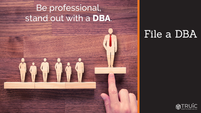 7 wood cut-outs of business people with one cut-out raised higher. Caption: Be professional, stand out with a D B A.
