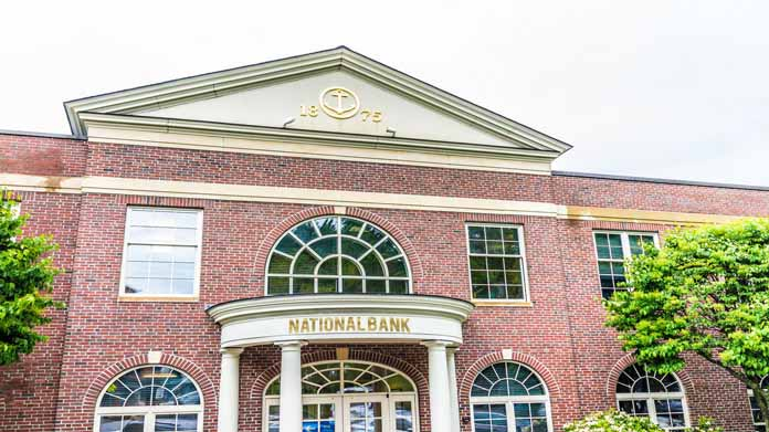 A close-up shot of a generic national bank