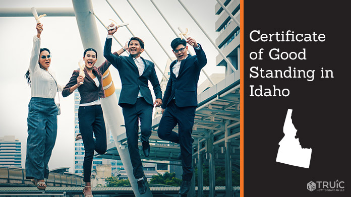 Business people on bridge celebrating certificate of good standing.