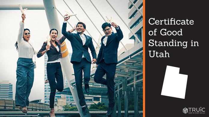 Business people on bridge celebrating certificate of good standing.