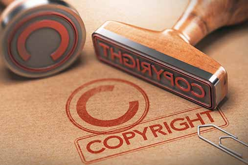 Rubber copyright stamp on file