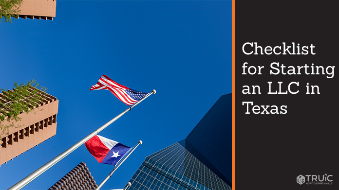 Dallas cityscape with America and Texas flags.