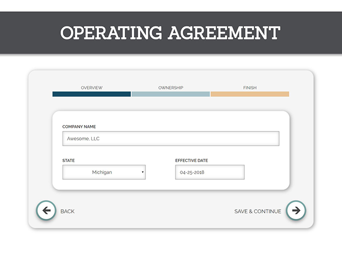 A screenshot of TRUiC's sample operating agreement tool