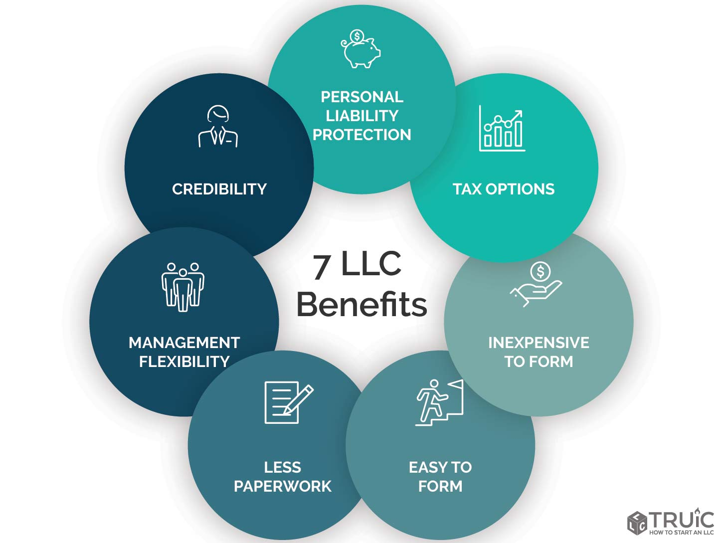7 LLC Benefits infographic: Personal Liability Protection, Tax Options, Inexpensive to Form, Easy to Form, Less Paperwork, Management Flexibility, and Credibility.