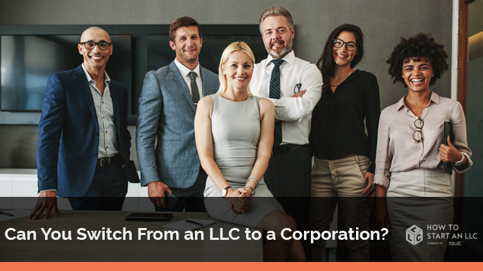 "Company photograph of 6 team members wondering ""can you switch from llc to corporation""?"