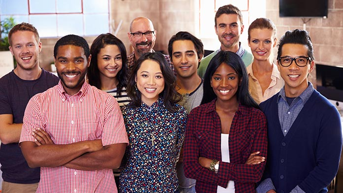 Group of coworkers smiling.