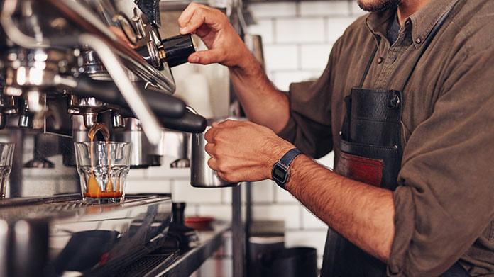 Man making espresso.