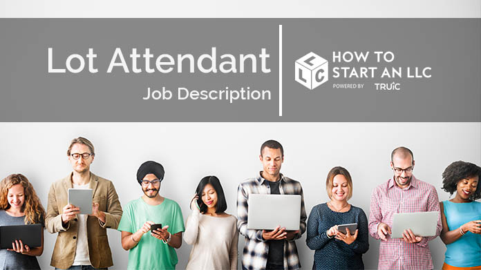 A line of job seekers on laptops, smartphones, and tablets