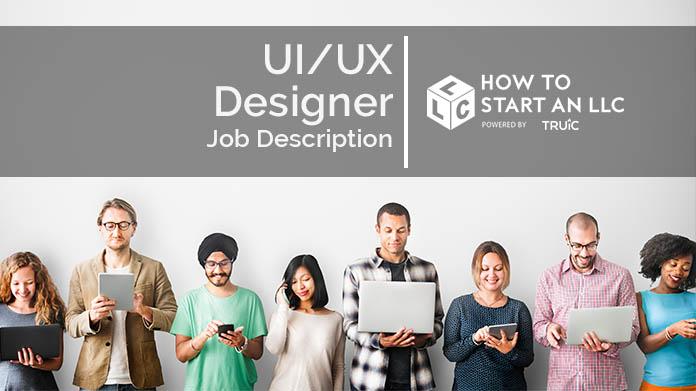 Image with text that says UI/UX Designer Job Description