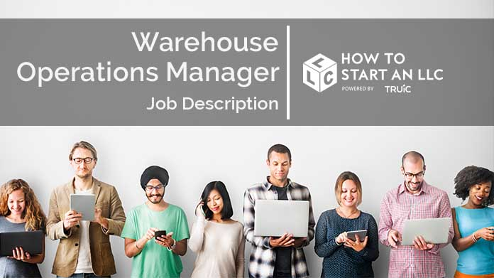 Image with text that says Warehouse Operations Manager Job Description