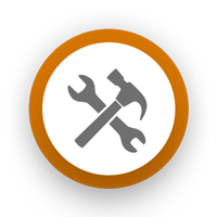 A hammer and wrench arranged in an X