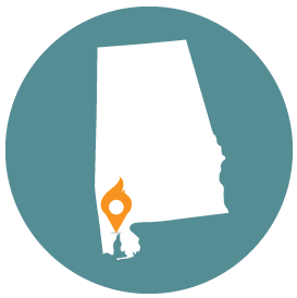 Small map with pin depicting Mobile, AL