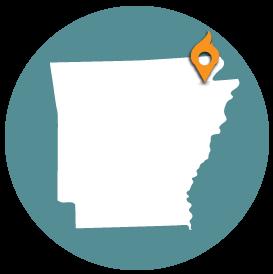 Small map with pin depicting Jonesboro, AR