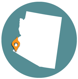 Small map with pin depicting Yuma, AZ