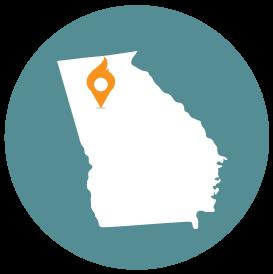 Small map with pin depicting Atlanta, GA