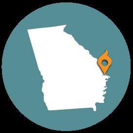 Small map with pin depicting Savannah, GA