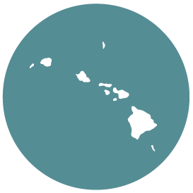 Small map with pin depicting Hawaii, HI