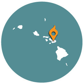 Small map with pin depicting Maui, HI