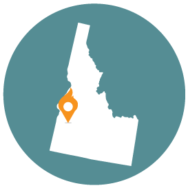 Small map with pin depicting Boise, ID