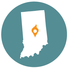 Small map with pin depicting Indianapolis, IN