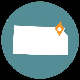 Small map with pin depicting Topeka, KS
