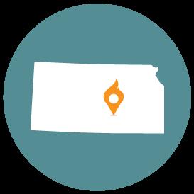 Small map with pin depicting Wichita, KS
