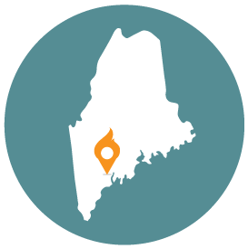 Small map with pin depicting Auburn, ME