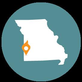 Small map with pin depicting Joplin, MO