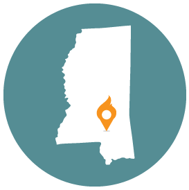 Small map with pin depicting Hattiesburg, MS