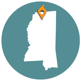 Small map with pin depicting Oxford, MS