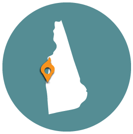 Small map with pin depicting Lebanon, NH