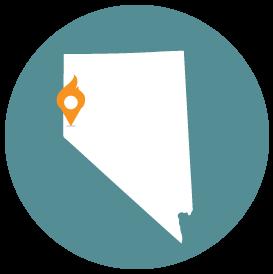 Small map with pin depicting Reno, NV