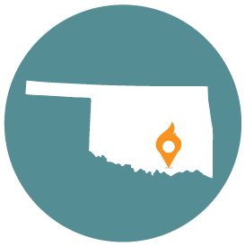 Small map with pin depicting Durant, OK