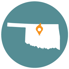 Small map with pin depicting Oklahoma City, OK