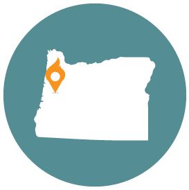 Small map with pin depicting Eugene, OR
