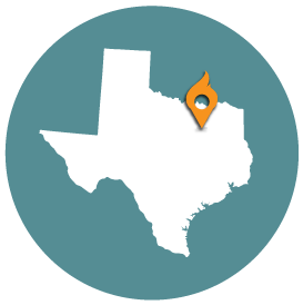 Small map with pin depicting Dallas, TX