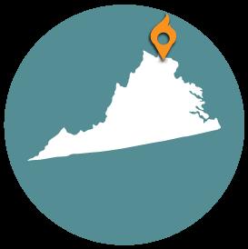 Small map with pin depicting Ashburn-Arlington, VA