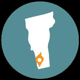 Small map with pin depicting Bennington, VT