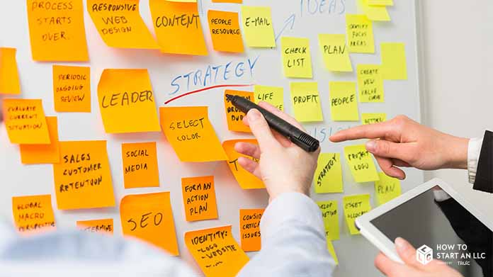 A whiteboard with numerous sticky notes