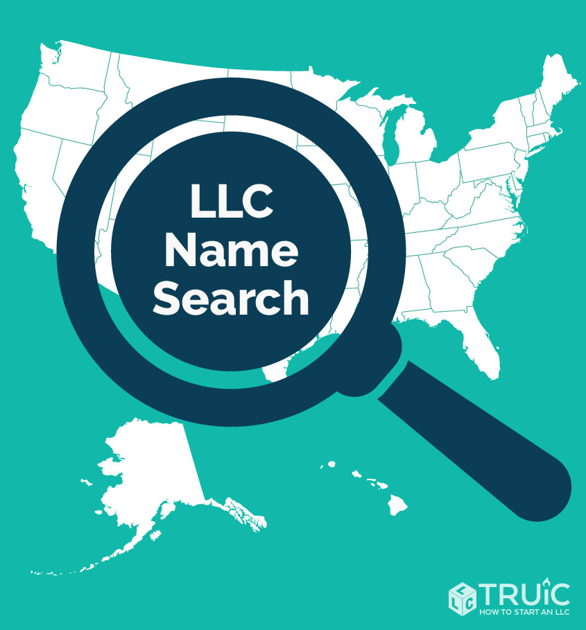 A magnifying glass over the United States that reads L L C name search