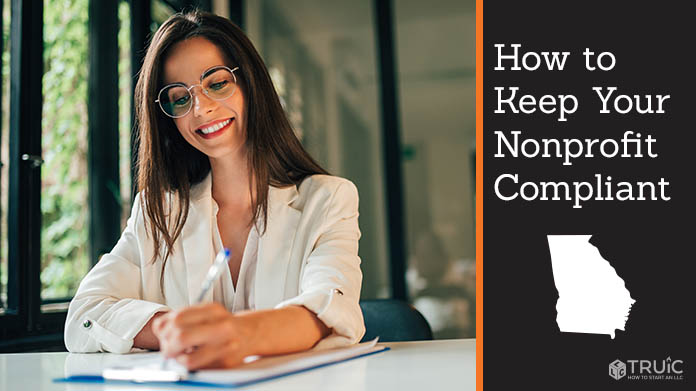 """A woman filling out paperwork with the caption, """"How to Keep Your Nonprofit Compliant"""""""