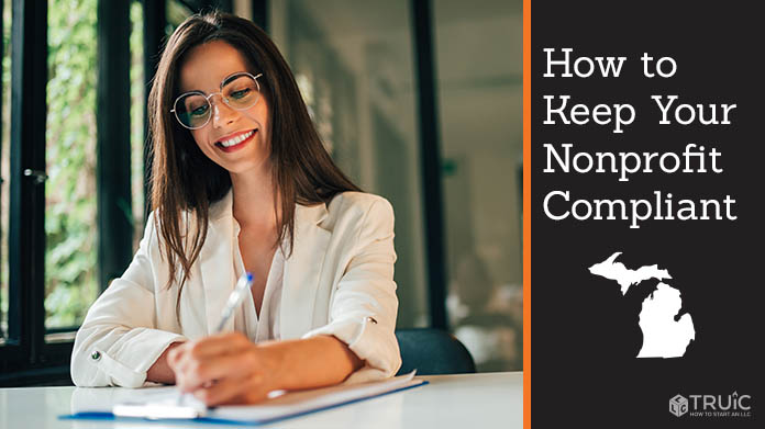 "A woman filling out paperwork with the caption, ""How to Keep Your Nonprofit Compliant"""