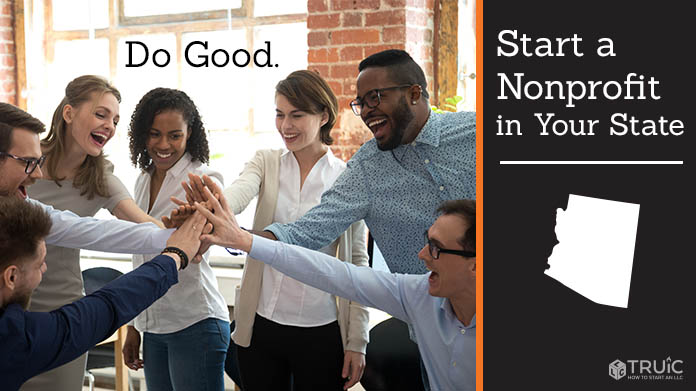 """Group of excited coworkers putting their hands in the middle with text above them that says """"Do Good."""""""