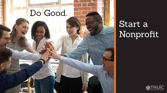 "Group of excited coworkers putting their hands in the middle with text above them that says ""Do Good."""